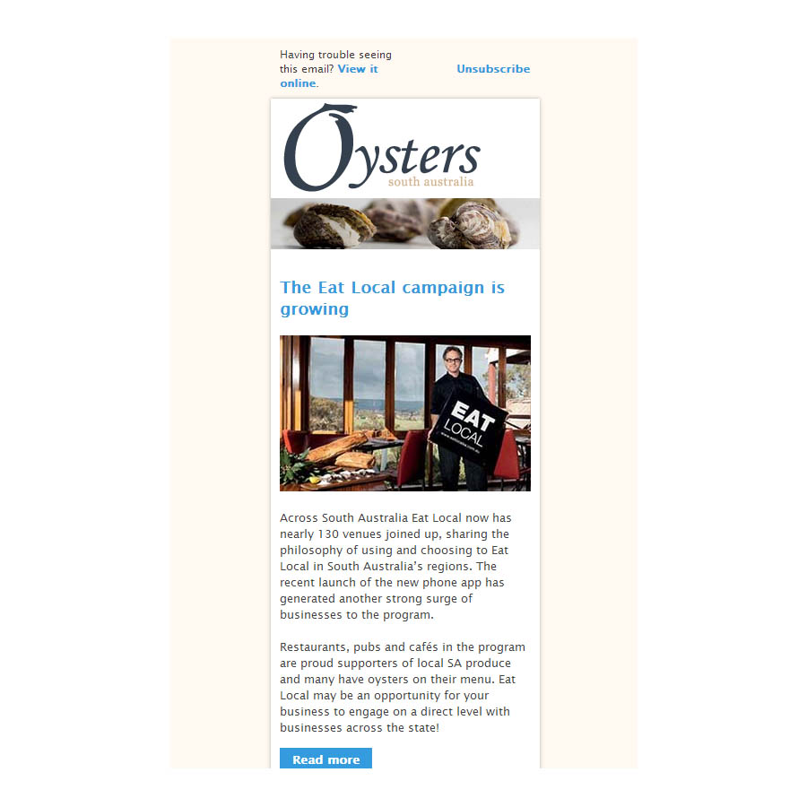 HTML email coded newsletter, Oysters SA, mobile, smartphone, responsive design, Adobe Business Catalyst
