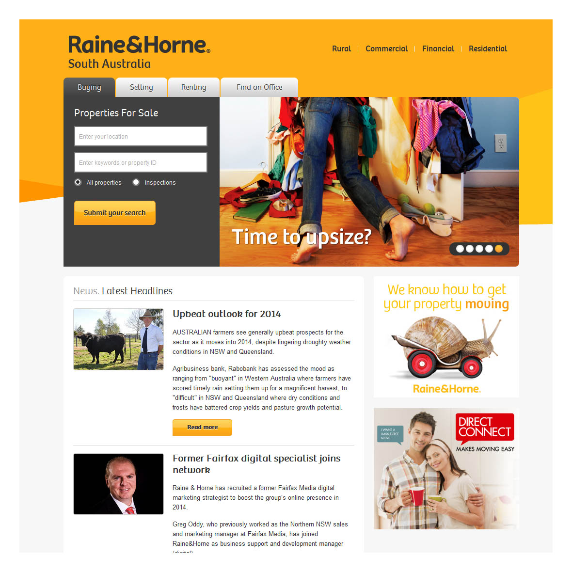 Corporate branded website for Raine & Horne SA