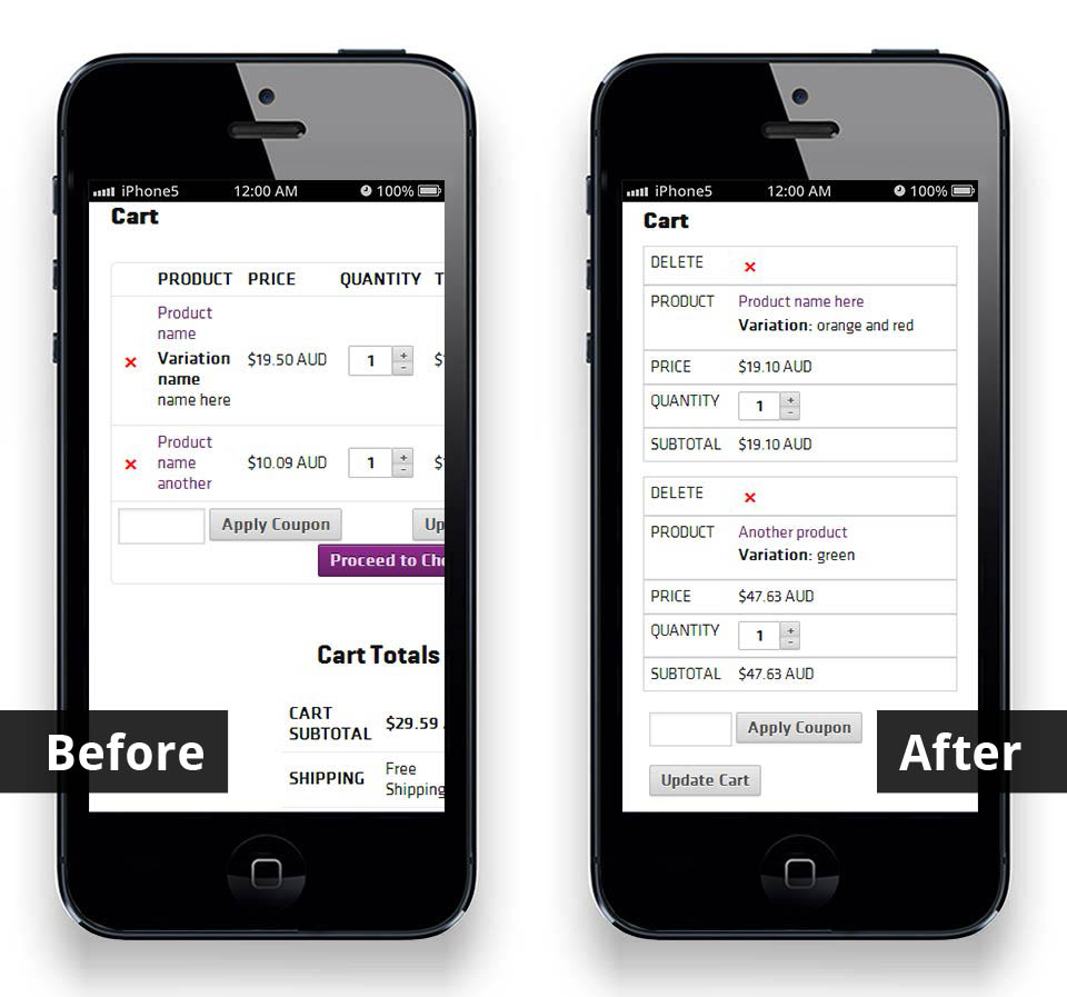 WooCommerce cart page, before and after smartphone optimisation with table responsive design