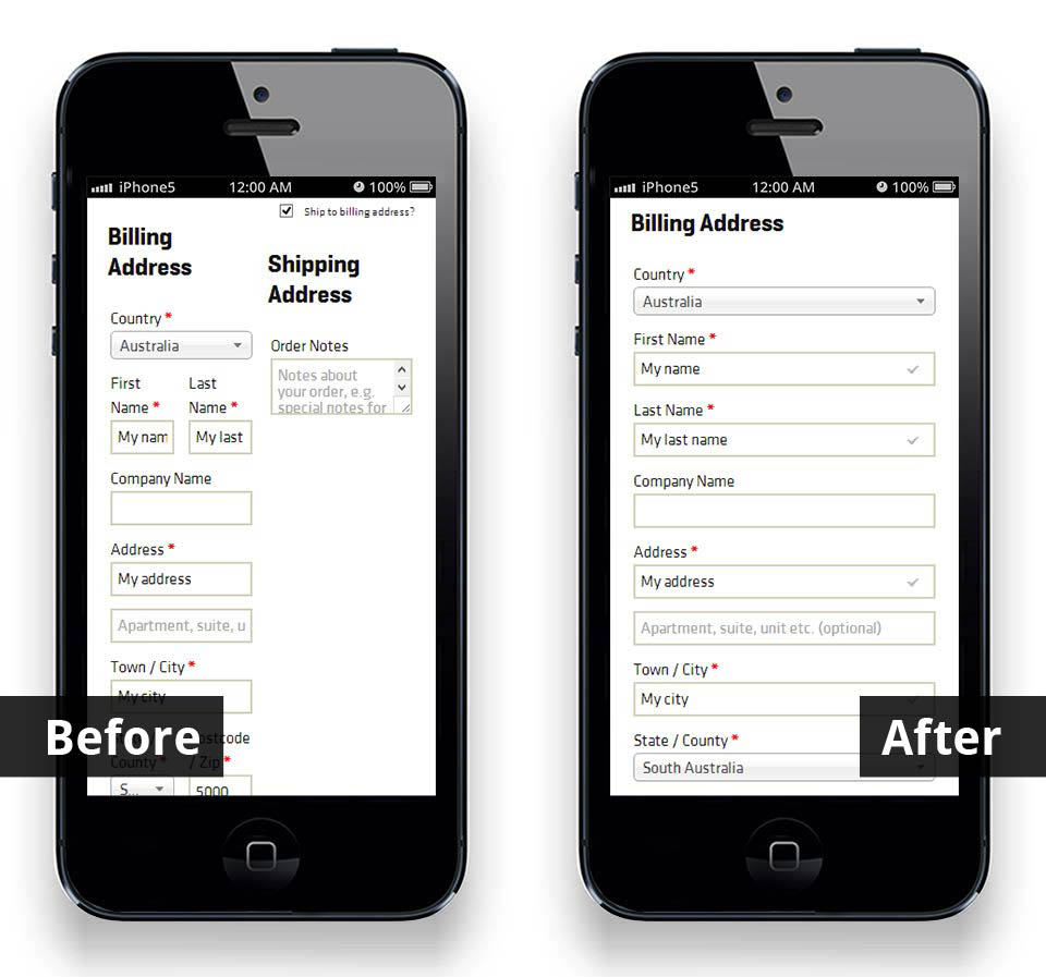 WooCommerce checkout page, before and after smartphone optimisation
