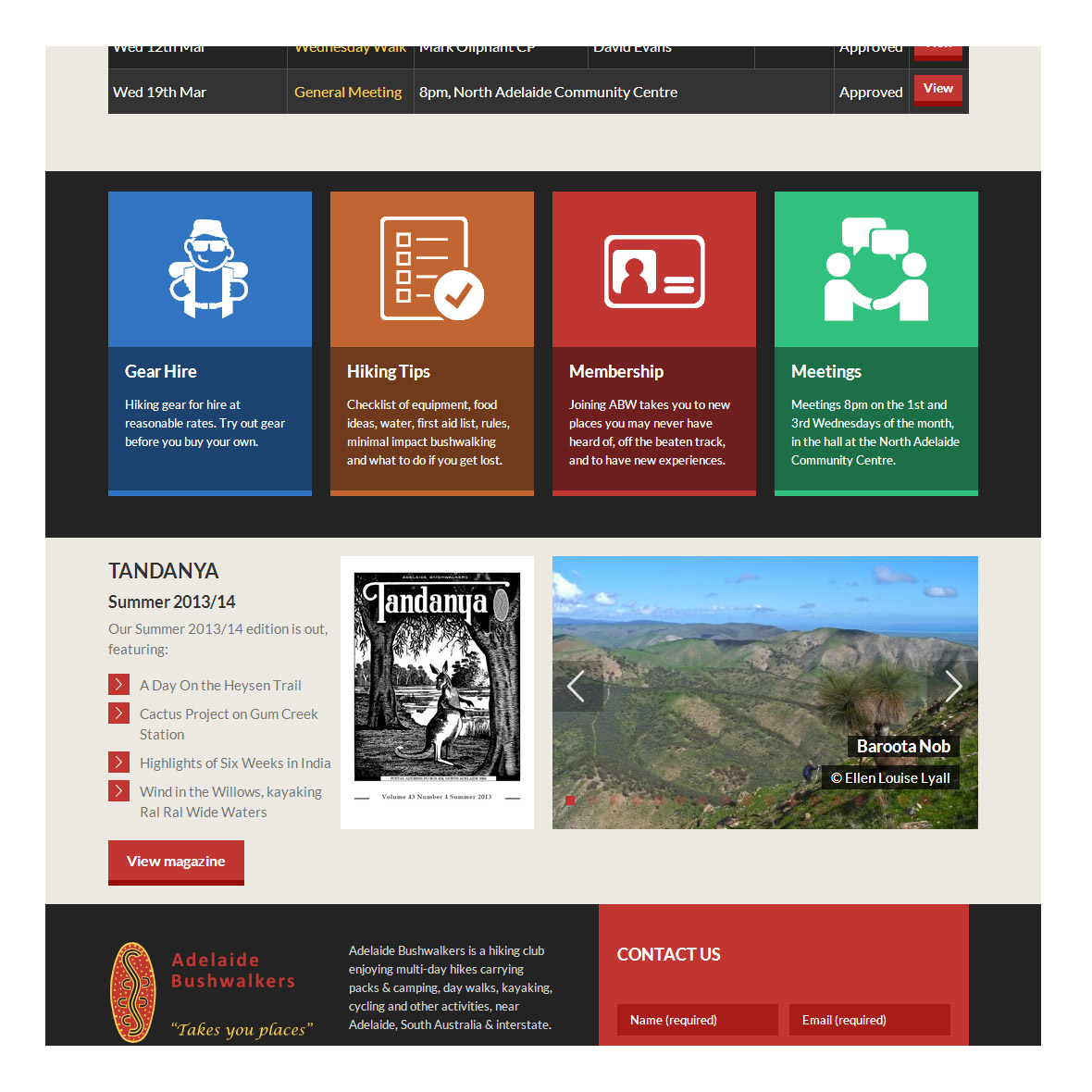 The website design directs people to key content