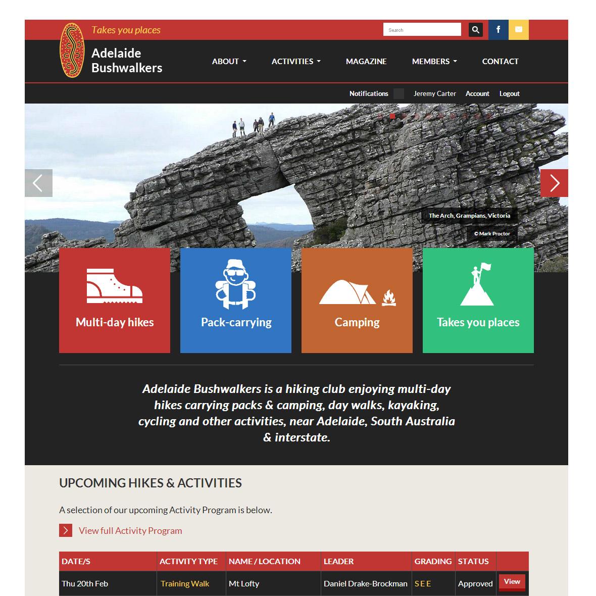 Design highlights key points of differences for Adelaide Bushwalkers